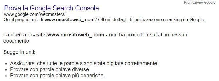 sito web non compare su Google ricerca pagine in SERP