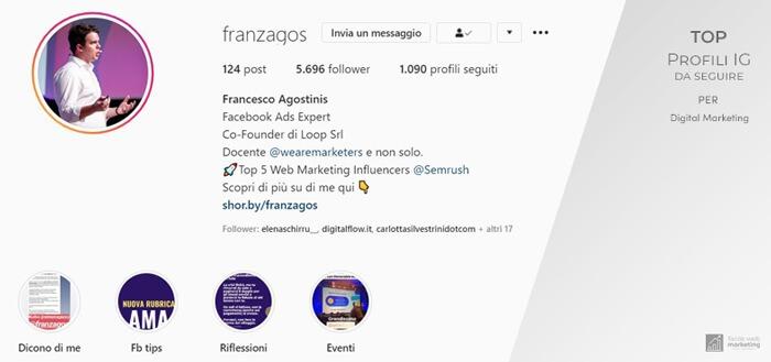 francesco agostinis profili Instagram da seguire per il Digital Marketing