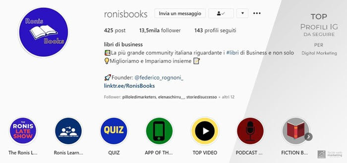 ronis-book sprofili Instagram da seguire per il Digital Marketing