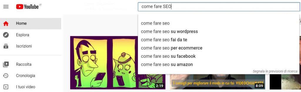 seo per youtube barra di ricerca yt Facile Web Marketing