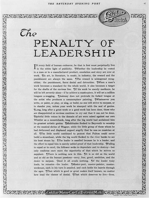storia del copywriting Theodore McManus Penalty of Leadership Facile Web Marketing