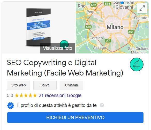 Google My Business scheda anteprima azienda Facile Web Marketing Nicola Onida SEO copywriting